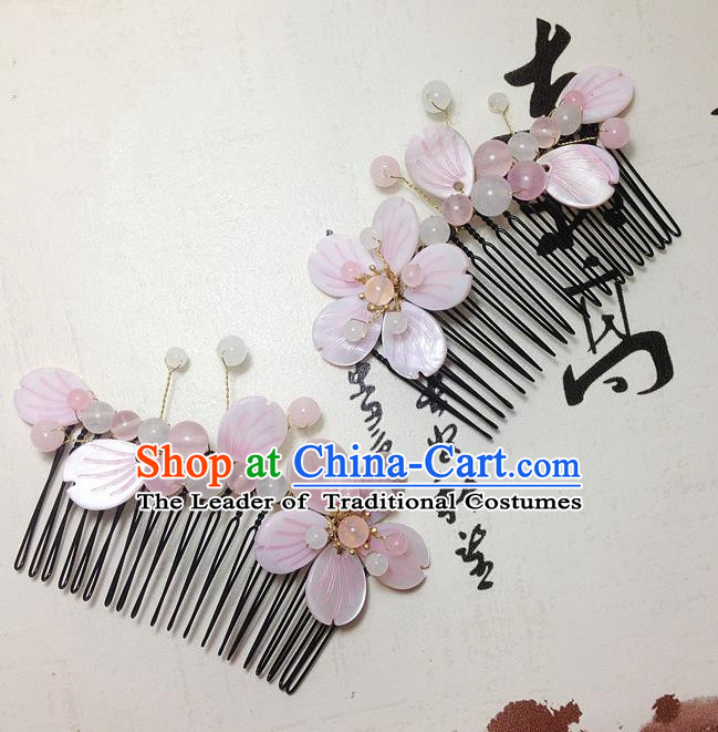 Traditional Chinese Ancient Classical Hair Accessories Hanfu Pink Shell Flower Hair Comb Bride Hairpins for Women