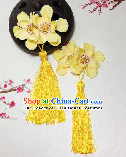 Traditional Chinese Ancient Classical Hair Accessories Hanfu Yellow Flowers Tassel Hair Stick Bride Hairpins for Women