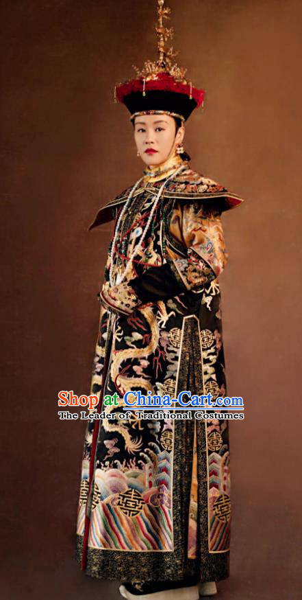 Traditional Ancient Chinese Qing Dynasty Manchu Imperial Empress Mandarin Embroidered Costume and Handmade Headpiece Complete Set for Women