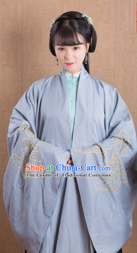 Asian China Ming Dynasty Princess Costume Wide Sleeve Cardigan, Traditional Ancient Chinese Palace Lady Embroidered Hanfu Blue Cape Clothing for Women