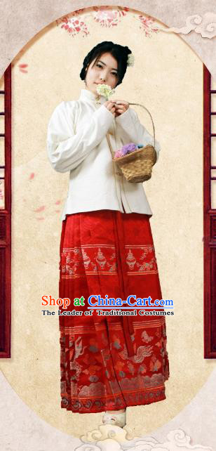 Asian China Ming Dynasty Princess Costume, Traditional Ancient Chinese Palace Lady Embroidered Hanfu White Brocade Blouse Clothing for Women