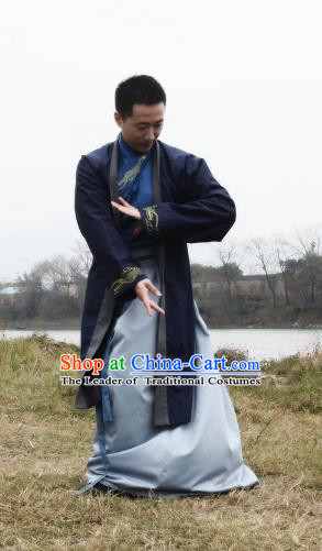 Asian China Han Dynasty Swordsman Costume, Traditional Ancient Chinese Imperial Bodyguard Hanfu Clothing for Men