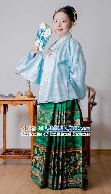 Asian China Ming Dynasty Palace Lady Costume Green Brocade Horse-face Skirt, Traditional Ancient Chinese Princess Hanfu Embroidered Clothing for Women