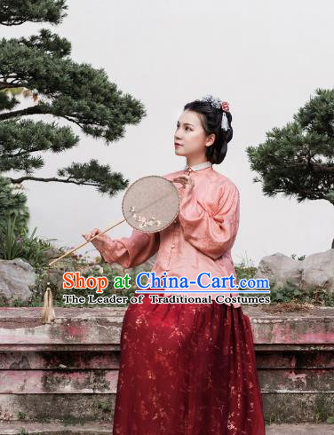 Asian China Ming Dynasty Palace Lady Costume Pink Brocade Blouse, Traditional Ancient Chinese Princess Hanfu Embroidered Clothing for Women
