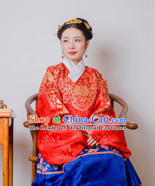 Asian China Ming Dynasty Palace Lady Costume Red Brocade Wedding Blouse, Traditional Ancient Chinese Princess Hanfu Embroidered Clothing for Women