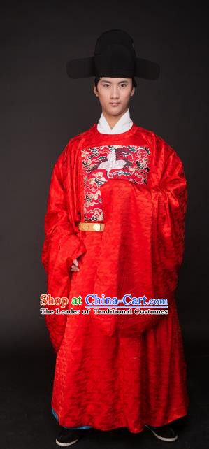 Asian China Ming Dynasty Wedding Costume Bridegroom Red Robe, Traditional Ancient Chinese Lang Scholar Embroidered Hanfu Clothing for Men