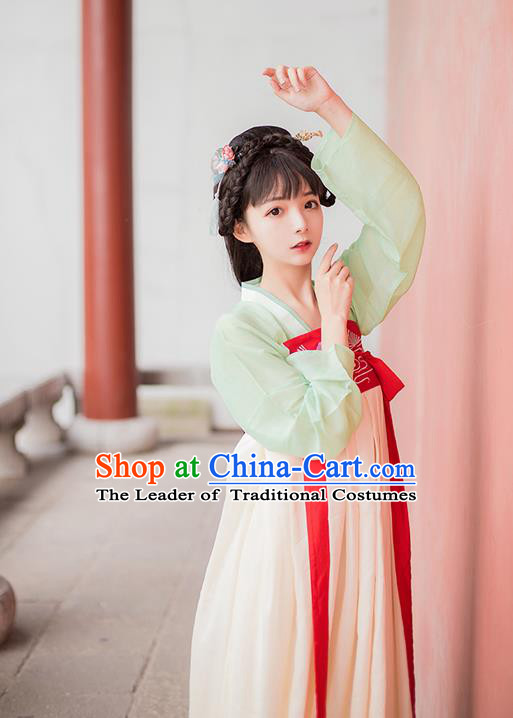 Asian China Tang Dynasty Princess Slip Skirt Costume, Traditional Ancient Chinese Young Lady Embroidered Hanfu Clothing for Women