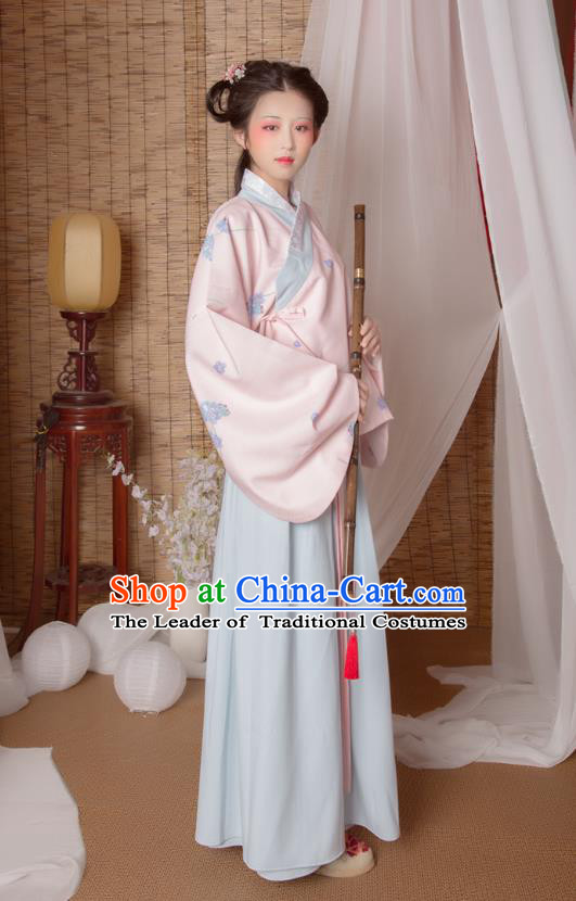 Asian China Ming Dynasty Princess Costume Pink Blouse and Skirt, Traditional Ancient Chinese Palace Lady Hanfu Embroidered Clothing for Women