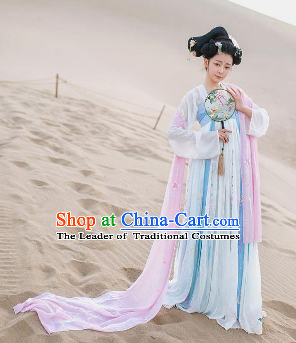 Asian China Tang Dynasty Imperial Consort Costume, Traditional Ancient Chinese Palace Lady Hanfu Embroidered Clothing for Women