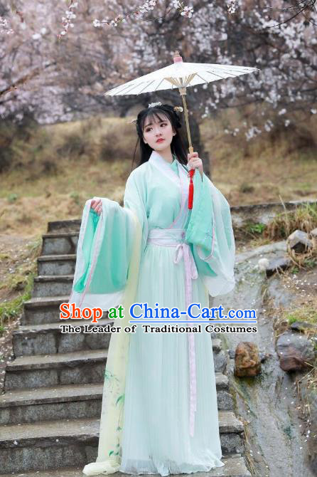 Asian China Jin Dynasty Imperial Princess Costume Blouse and Skirt, Traditional Ancient Chinese Hanfu Embroidered Clothing for Women