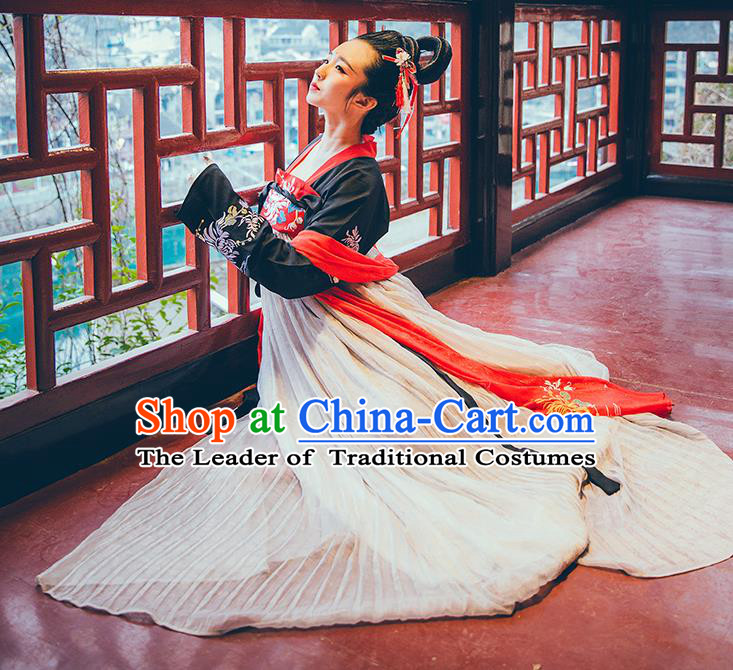 Asian China Tang Dynasty Imperial Princess Costume, Traditional Ancient Chinese Hanfu Embroidered Clothing for Women