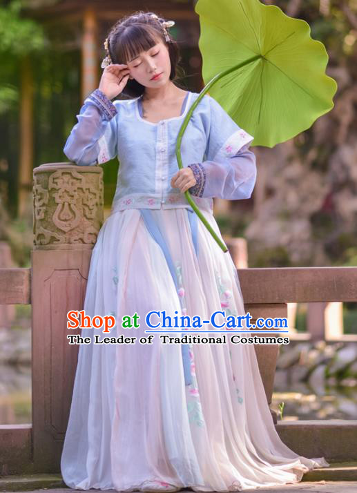 Asian China Tang Dynasty Princess Costume, Traditional Ancient Chinese Palace Lady Hanfu Embroidered Clothing for Women