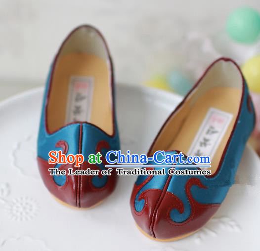 Traditional Korean National Embroidered Shoes, Asian Korean Hanbok Children Light Blue Shoes for Boys