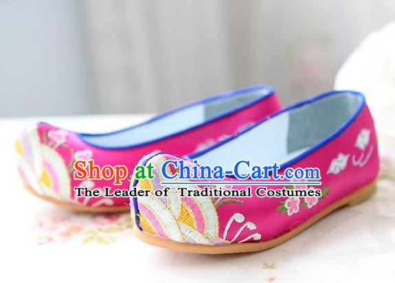 Traditional Korean National Embroidered Shoes, Asian Korean Hanbok Children Pink Bride Shoes for Girls