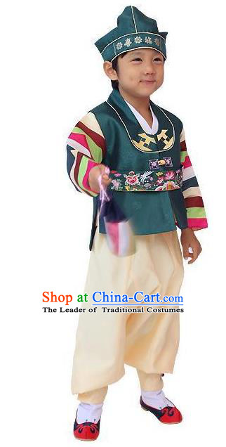 Traditional Korean Handmade Hanbok Embroidered Green Clothing, Asian Korean Apparel Hanbok Embroidery Bridegroom Costume for Kids