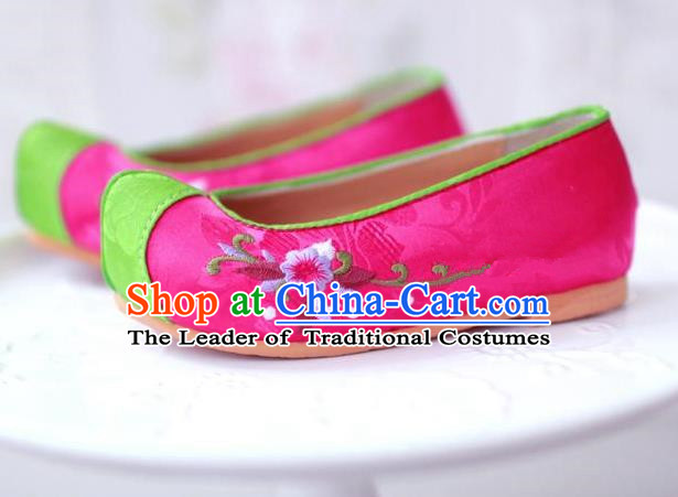 Traditional Korean National Girls Pink Embroidered Shoes, Asian Korean Hanbok Children Bride Shoes for Kids