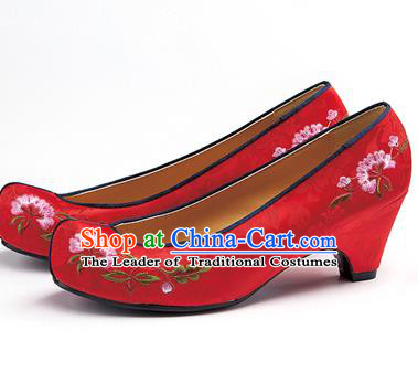Traditional Korean National Red Embroidered Shoes, Asian Korean Hanbok Bride High-heeled Shoes for Women
