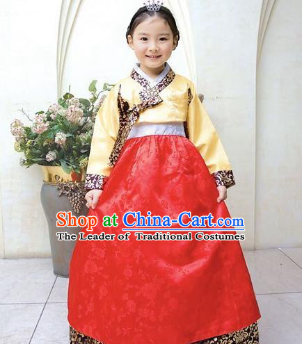 Traditional Korean National Top Grade Handmade Court Embroidered Clothing, Asian Korean Bride Hanbok Costume for Kids