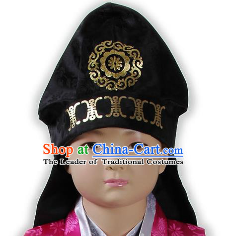 Traditional Korean Hair Accessories Embroidered Black Hats, Asian Korean Fashion National Boys Headwear for Kids