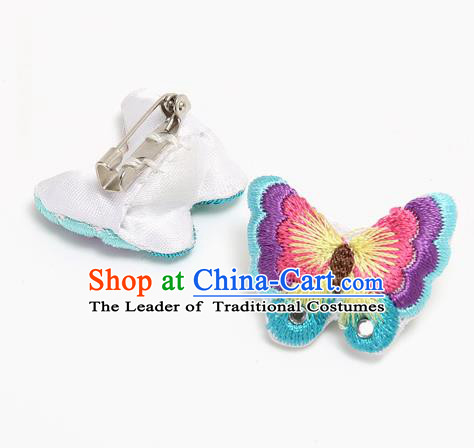 Traditional Korean Accessories Embroidered Butterfly Brooch, Asian Korean Fashion Wedding Breastpin for Kids