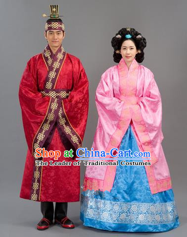 Traditional Korean National Handmade Court Embroidered Wedding Clothing, Asian Korean Bride Pink Dress Costume for Women