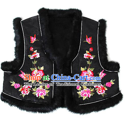 Traditional Korean National Handmade Court Embroidered Peony Black Vest, Asian Korean Bride Waistcoat Costume for Kids