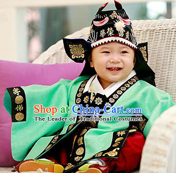 Traditional Korean Hair Accessories Embroidered Hat, Asian Korean Fashion Baby Prince Black Hats for Kids
