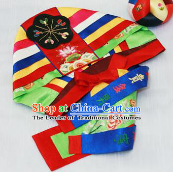 Traditional Korean Hair Accessories Embroidered Hat, Asian Korean Fashion Baby Princess Hats for Kids