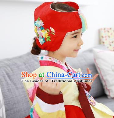 Traditional Korean Hair Accessories Embroidered Hat, Asian Korean Fashion Baby Princess Red Hats for Kids