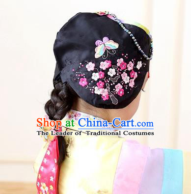 Traditional Korean Hair Accessories Embroidered Butterfly Hat, Asian Korean Fashion Baby Princess Black Hats for Kids