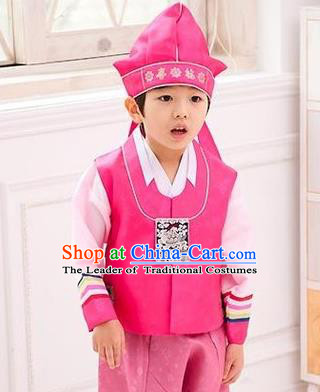 Traditional Korean Handmade Hanbok Embroidered Pink Formal Occasions Costume, Asian Korean Apparel Hanbok Clothing for Boys