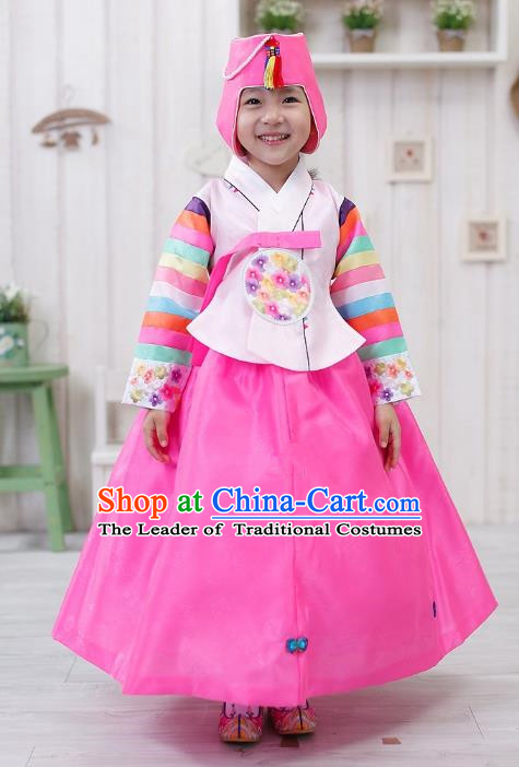 Traditional Korean Handmade Formal Occasions Embroidered Girls Costume, Asian Korean Apparel Bride Hanbok Pink Dress Clothing for Kids