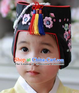 Traditional Korean Hair Accessories Embroidered Flowers Hats, Asian Korean Fashion Children Wedding Headwear for Girls