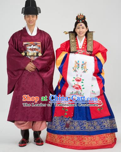 Traditional Korean Handmade Formal Occasions Embroidered Palace Wedding Couple Hanbok Complete Set
