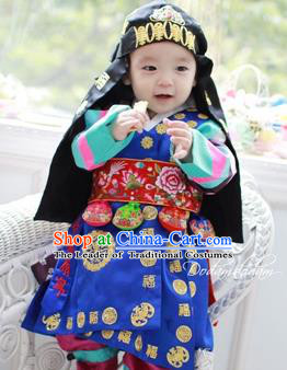 Traditional Korean Hair Accessories Palace Prince Black Hats, Asian Korean National Fashion Children Headwear for Boys
