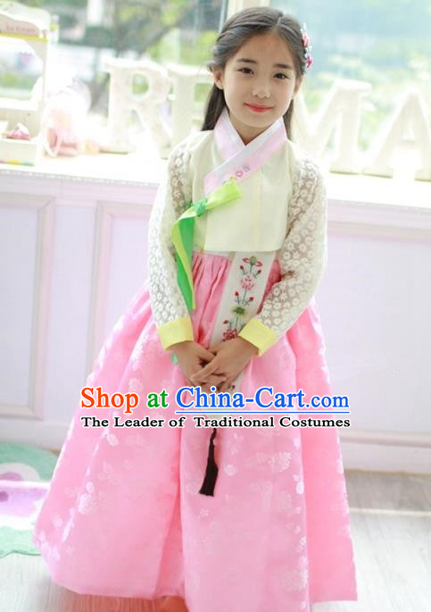 Traditional Korean Handmade Formal Occasions Embroidered Pink Costume, Asian Korean Apparel Hanbok Dress Clothing for Girls
