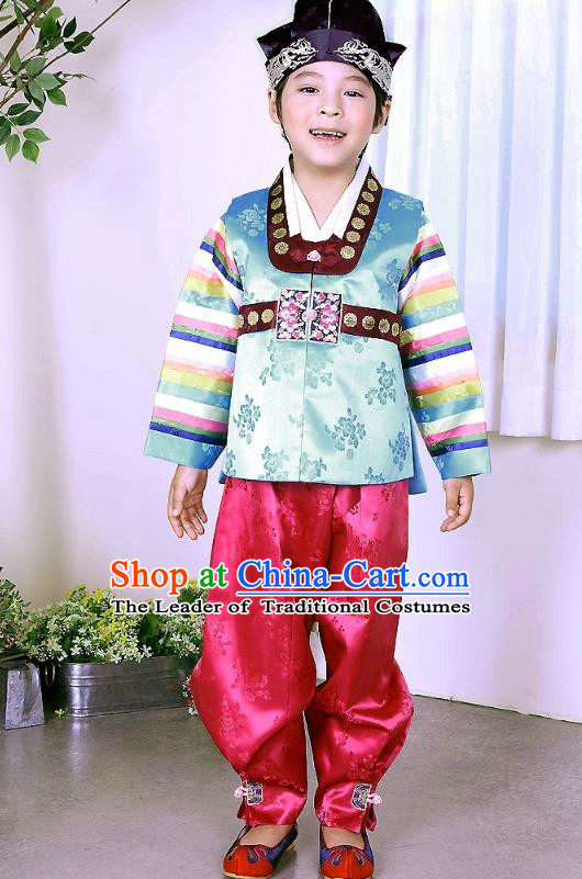 Traditional Korean Handmade Formal Occasions Green Costume and Hats, Asian Korean Apparel Hanbok Clothing for Boys