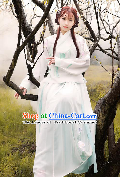 Asian China Ming Dynasty Palace Lady Embroidered Costume, Traditional Ancient Chinese Princess Hanfu Clothing for Women
