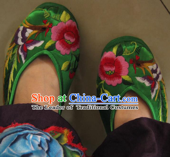 Traditional Chinese Ancient Princess Shoes Green Cloth Embroidered Shoes, China Handmade Embroidery Phoenix Peony Hanfu Shoes for Women