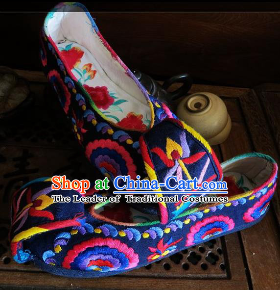Traditional Chinese Ancient Princess Shoes Navy Cloth Embroidered Shoes, China Handmade Embroidery Hanfu Shoes for Women