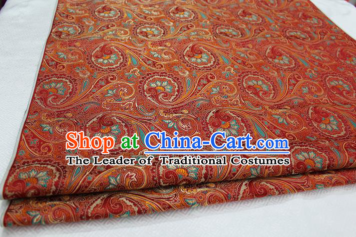 Chinese Traditional Ancient Costume Palace Pteris Pattern Mongolian Robe Orange Brocade Tang Suit Fabric Hanfu Material