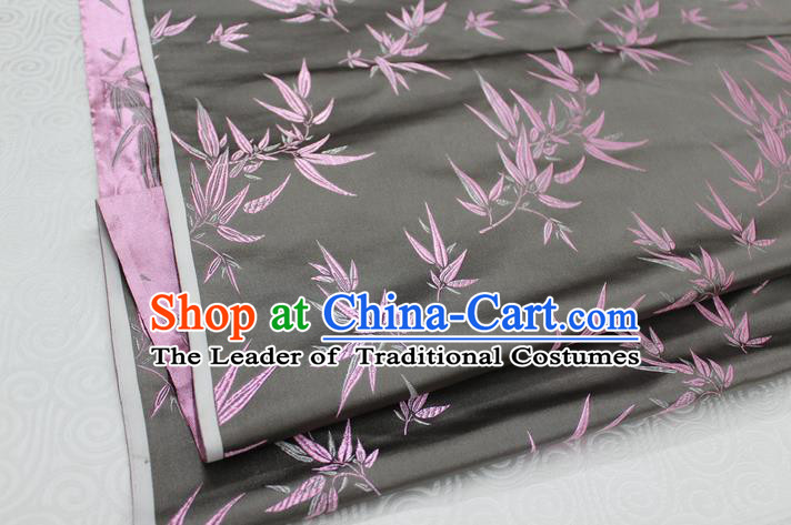 Chinese Traditional Palace Bamboo Pattern Tang Suit Cheongsam Grey Brocade Fabric, Chinese Ancient Costume Hanfu Material