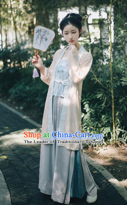 Traditional Chinese Song Dynasty Young Lady Clothing Ancient Imperial Princess Hanfu Embroidered Costume for Women