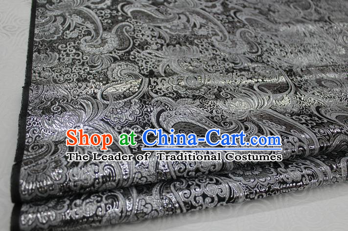 Chinese Traditional Ancient Costume Palace Pattern Tang Suit Cheongsam Black Brocade Mongolian Robe Satin Fabric Hanfu Material