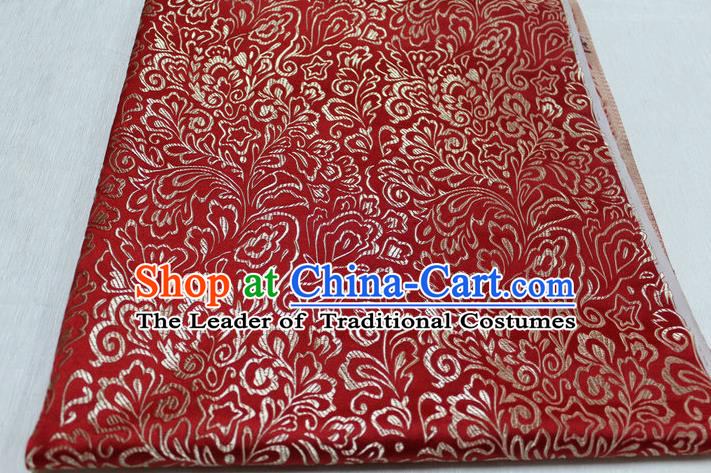 Chinese Traditional Ancient Costume Palace Phoenix Flower Pattern Tang Suit Red Brocade Cheongsam Satin Fabric Hanfu Material