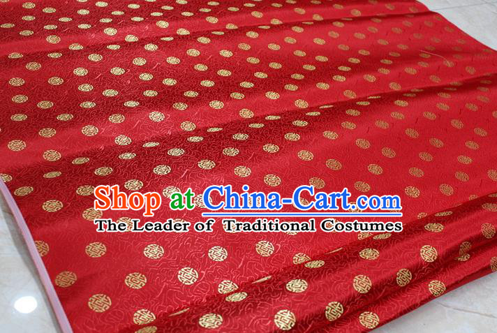 Chinese Traditional Ancient Costume Palace Pattern Cheongsam Red Brocade Tang Suit Satin Fabric Hanfu Material