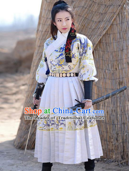 Traditional Chinese Ming Dynasty Swordswoman Fly Fish Clothing Ancient Imperial Guard Hanfu Embroidered Costume for Women