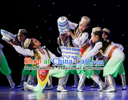 Traditional Chinese Uyghur Nationality Costume, Chinese Minority Nationality Uigurian Dance Costume for Kids