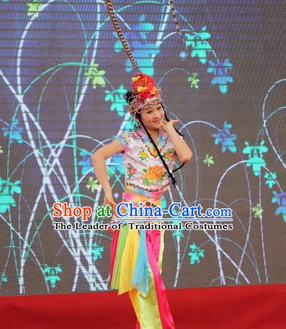 Traditional Chinese Mongol Nationality Dance Costume, Mongols Folk Dance Embroidery Clothing for Kids