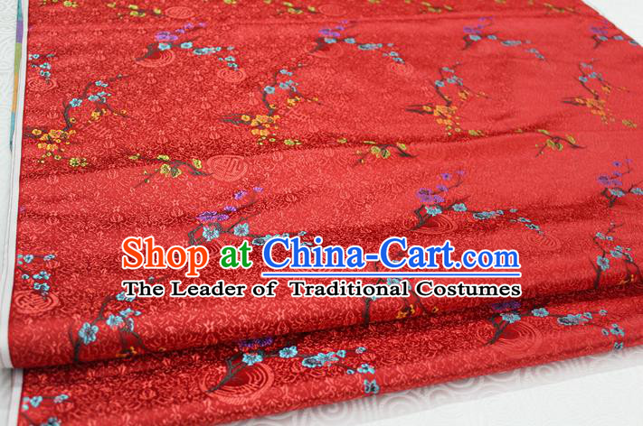 Chinese Traditional Ancient Costume Palace Wintersweet Pattern Red Cheongsam Brocade Xiuhe Suit Satin Fabric Hanfu Material